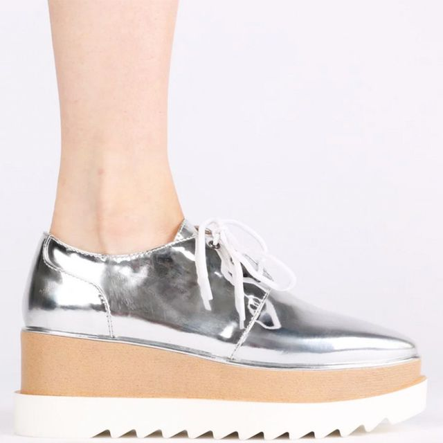 Best Manchester fashion labels: Public Desire Maya Chunky Cleated Flatforms in Silver Metallic
