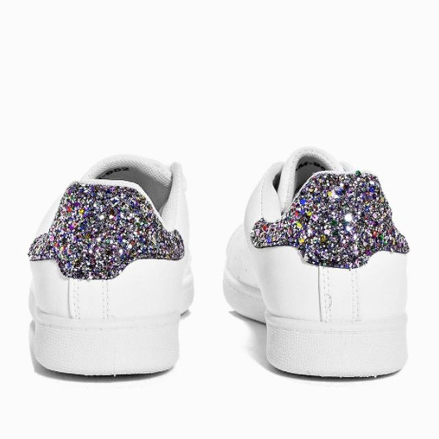 Best Manchester fashion labels: Boohoo Clara Glitter Back Lace Up Trainers