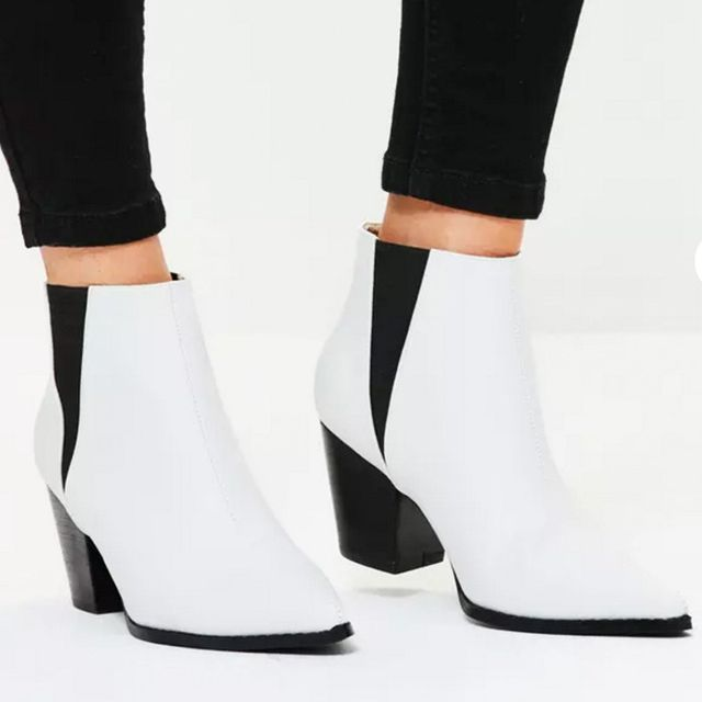 Best Manchester Fashion Labels: Missguided White Faux Leather Western Pointed Ankle Boots