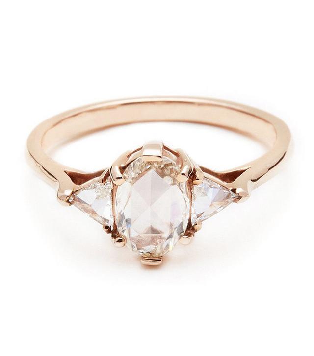 Anna Sheffield Oval White Diamond Bea Ring