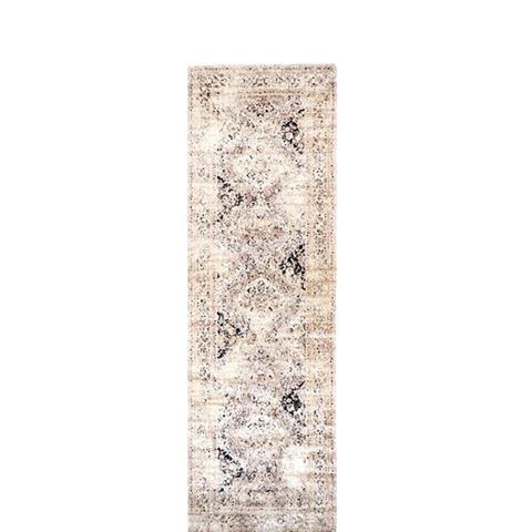 Vintage Viscose Distressed Framed Floral Rug