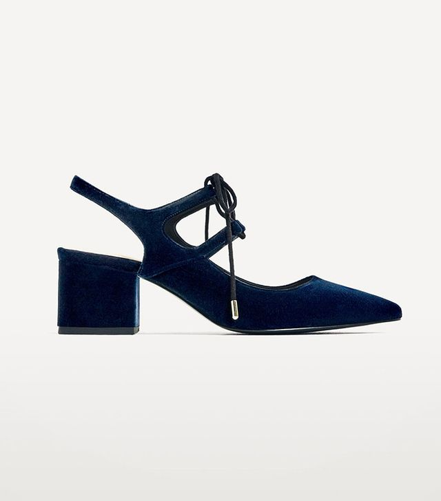 Zara Velvet Slingback Shoes