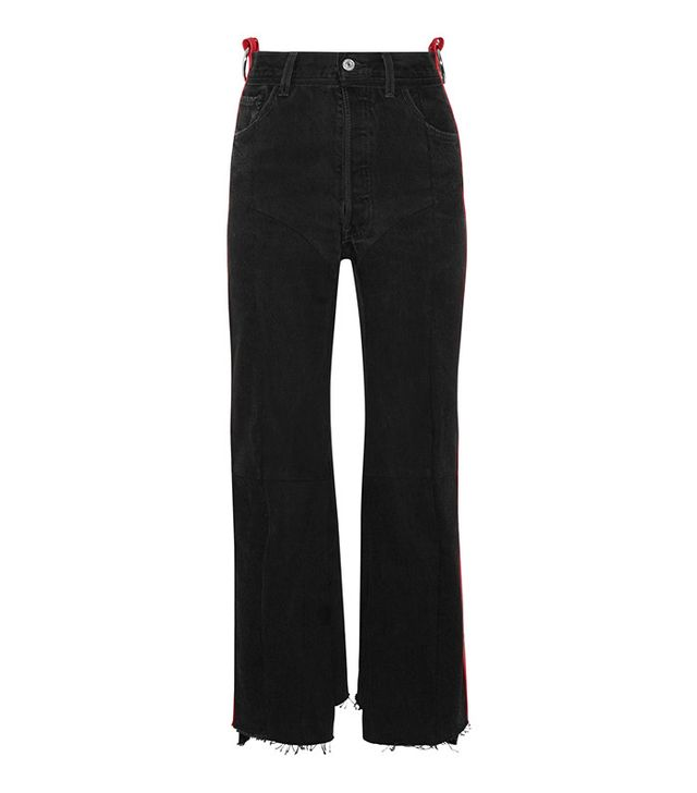 Vetements Leather-Trimmed High-Rise Straight-Leg Jeans