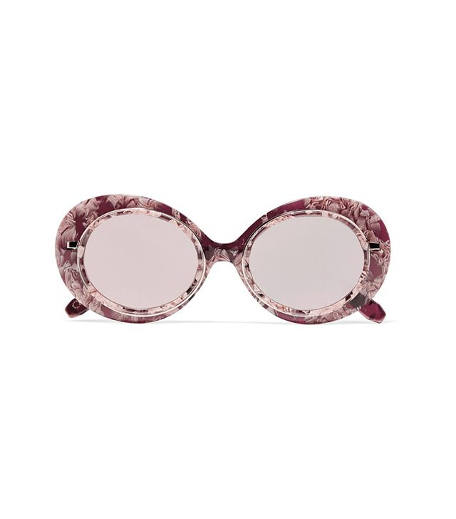 Krewe Iris Round Frame Acetate and Rose Gold-Tone Mirrored Sunglasses