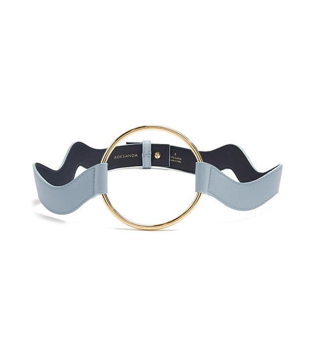 Roksanda Circle-Front Wave Saffiano-Leather Belt