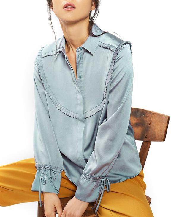 Topshop Pleated Satin Ruffle Shirt