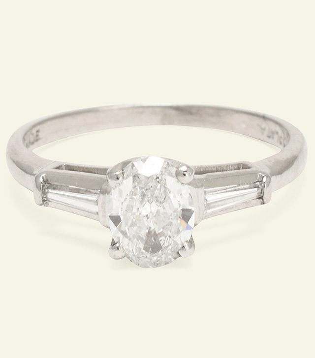 vintage .73ct Oval Diamond Engagement Ring