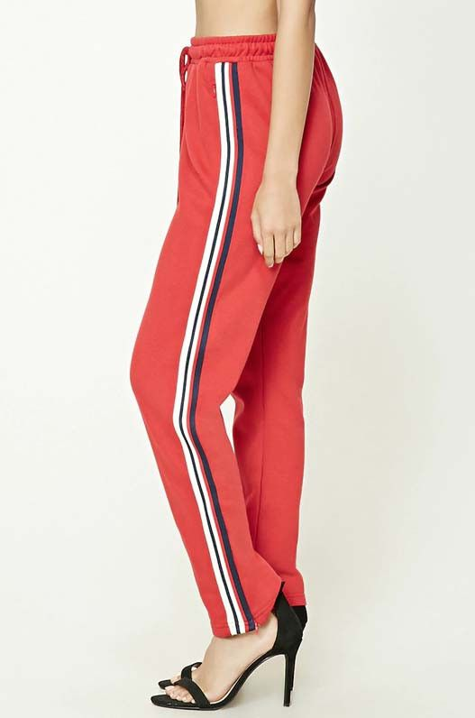 Forever 21 Striped Drawstring Sweatpants