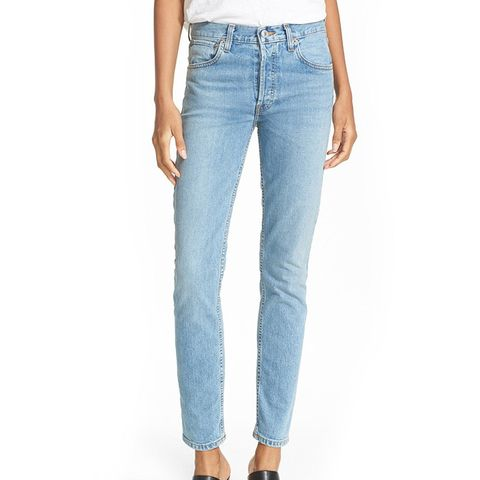 High Rise Straight Skinny Stretch Jeans