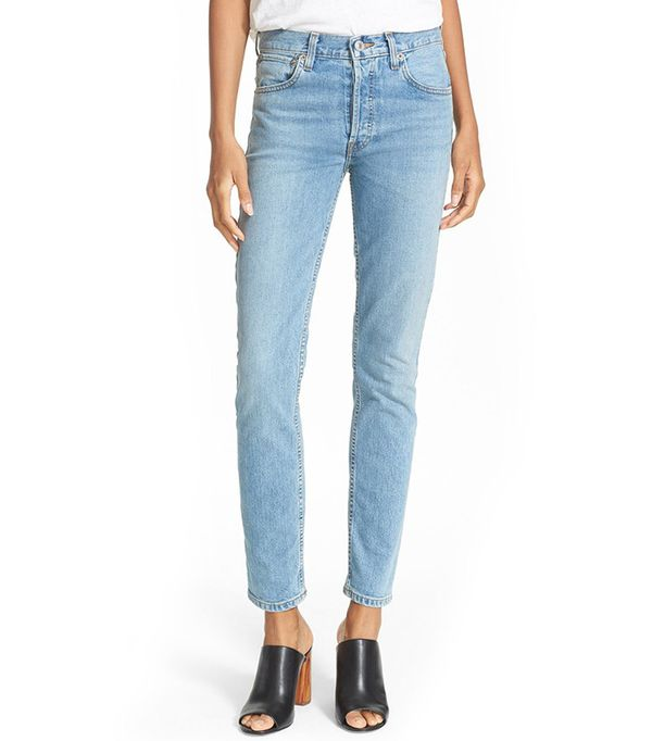 Re/Done Originals High Rise Straight Skinny Stretch Jeans