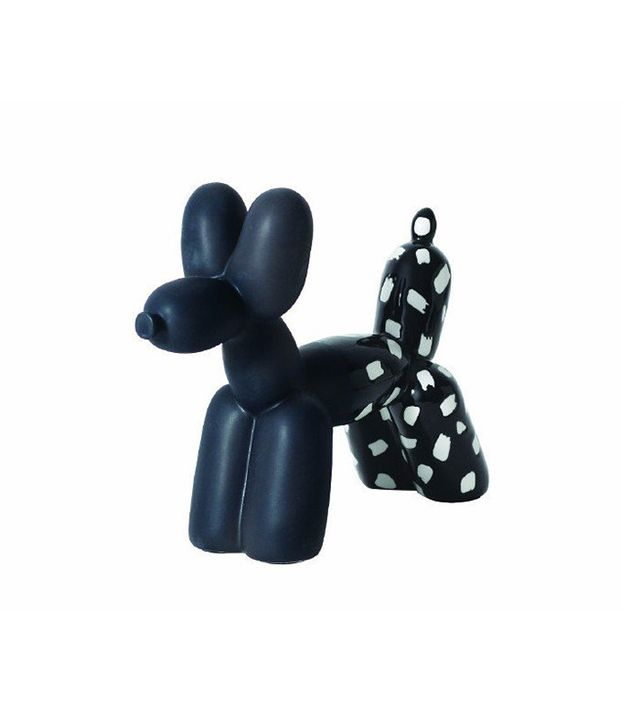 imm Living Big Top Ceramic Balloon Dog Bookend in Black and White