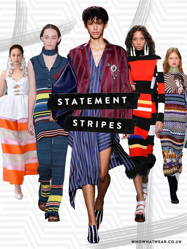 Stripes trend: From Left to Right: Delpozo, Pringle of Scotland, Mulberry, Proenza Schouler, Mary Katrantzou
