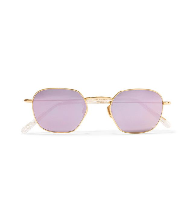 Krewe Ward square-frame gold-plated and acetate mirrored sunglasses