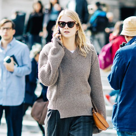 spring street style outfit ideas: jumper and stripes trousers