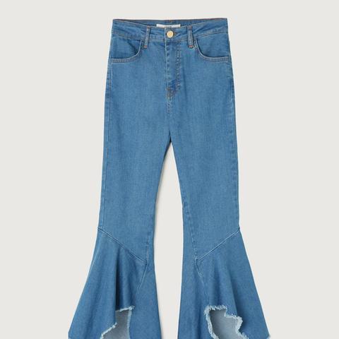 Asymmetric Bell Bottom Jeans