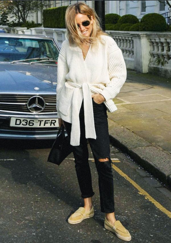 spring street style outfit ideas: Lucy Williams in Acne wrap jumper