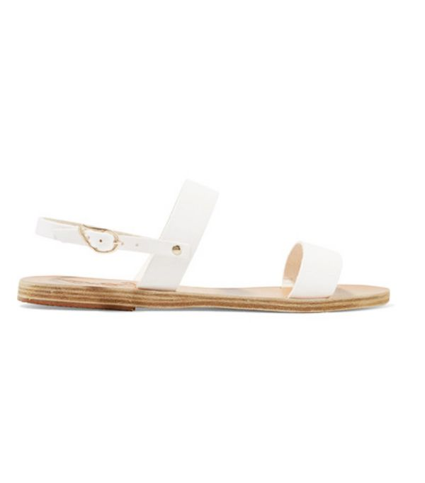 spring street style outfit ideas: Ancient Greek sandals white