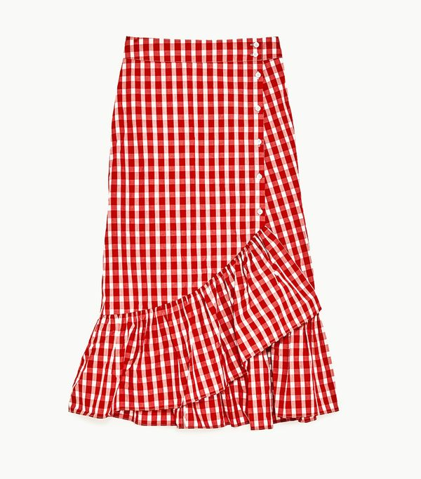 spring street style outfit ideas:  Zara gingham skirt