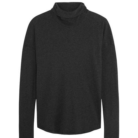 Cotton-Jersey Turtleneck Top