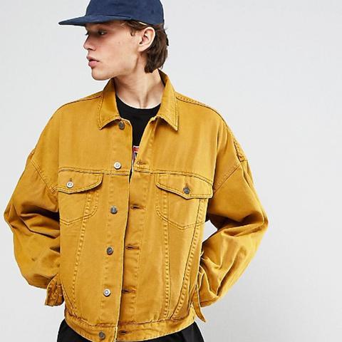 Oversized Denim Jacket in Vintage Yellow