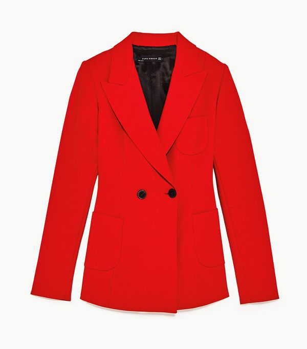 spring street style outfit ideas: Zara red blazer