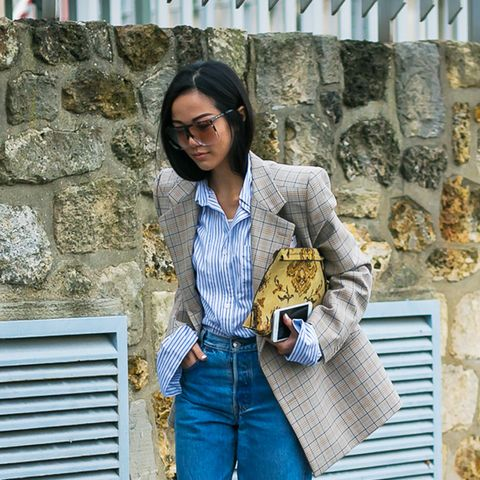 spring street style outfit ideas: Check blazer