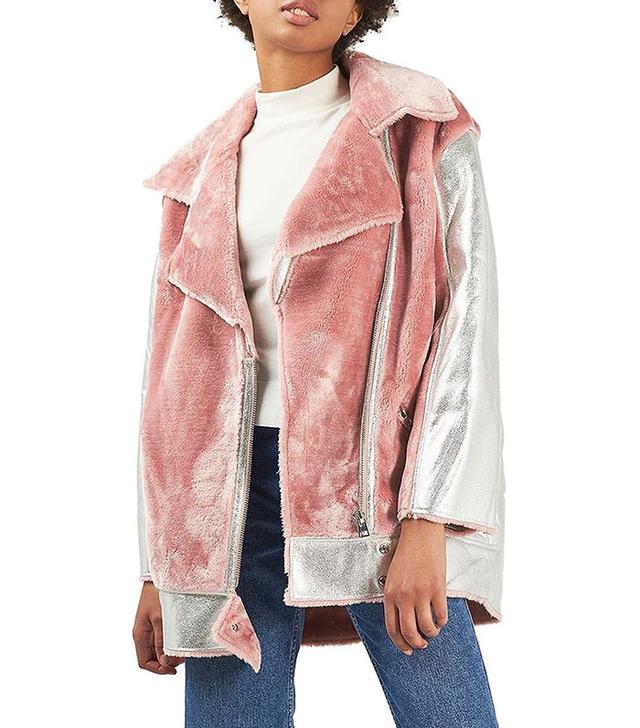 Topshop Metallic & Faux Fur Jacket