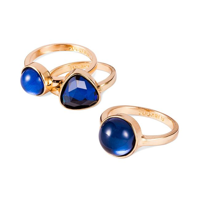 SugarFix by BaubleBar Navy Stone Ring Set