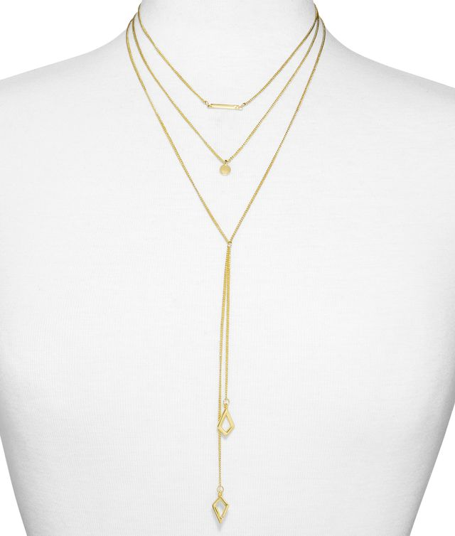 SugarFix by BaubleBar Delicate Geometric Layered Lariat Necklace