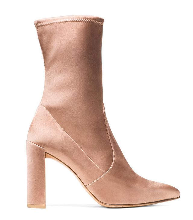 Stuart Weitzman The Clinger Booties in Stretch Satin Adobe