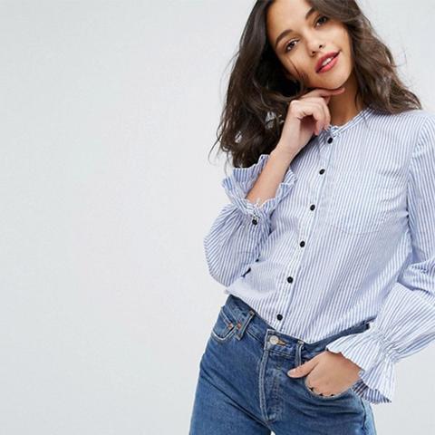 Frill Sleeve Button Down Shirt