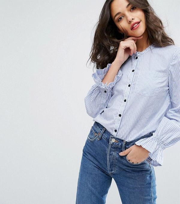 Vero Moda Frill Sleeve Button Down Shirt