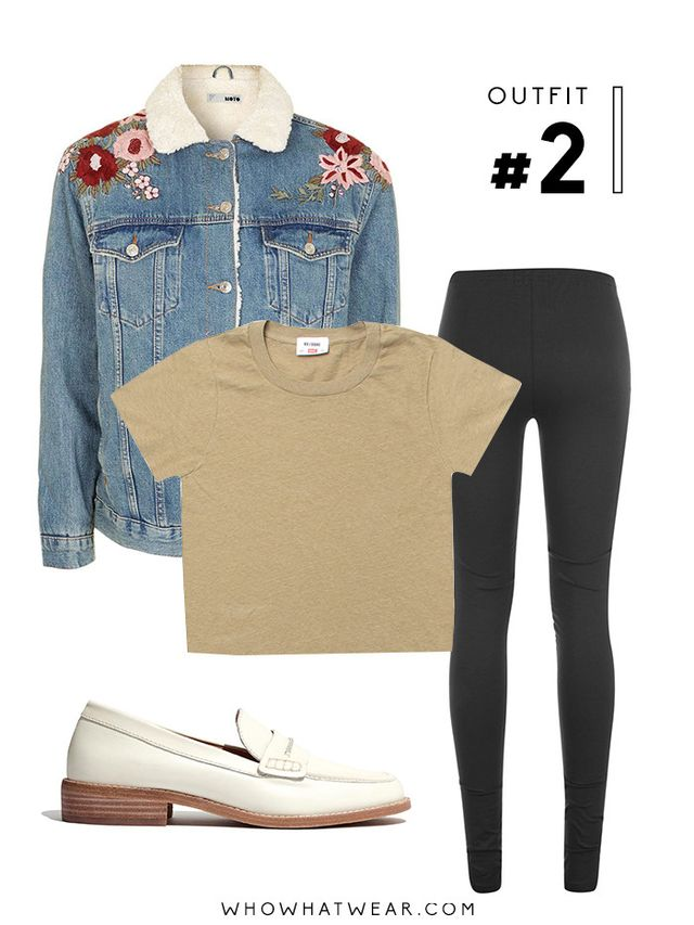 Pictured Above: Topshop Moto Embroidered Borg Jacket ($170,similar style here); Re/Done | Hanes 1950s Boxy Tee in Sand ($78); Girlfriend Collective Leggings ($0); Madewell Elinor Loafers ($158).