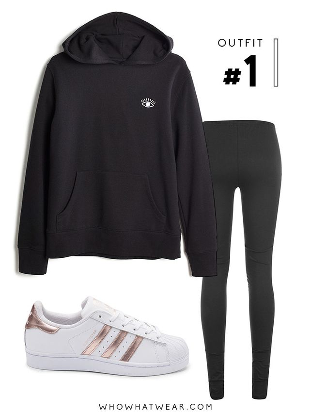 Pictured Above: Madewell Embroidered Eye Hoodie Sweatshirt ($75); Girlfriend Collective Leggings ($0); Adidas Superstar Sneakers in White/Rose Gold ($80).