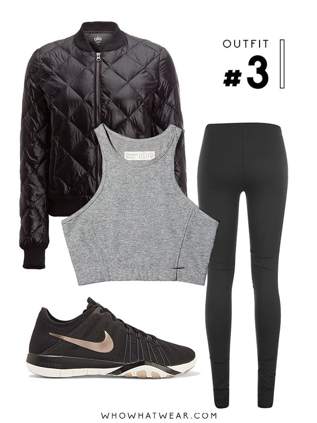 Pictured Above: Alo Idol Bomber Down Jacket ($168); Outdoor Voices Athena Crop Top ($50); Girlfriend Collective Leggings($0); Nike Free TR 6 Sneakers ($75).