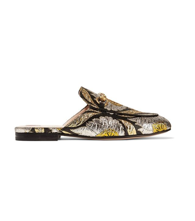 Gucci Princetown horsebit-detailed metallic floral-jacquard slippers