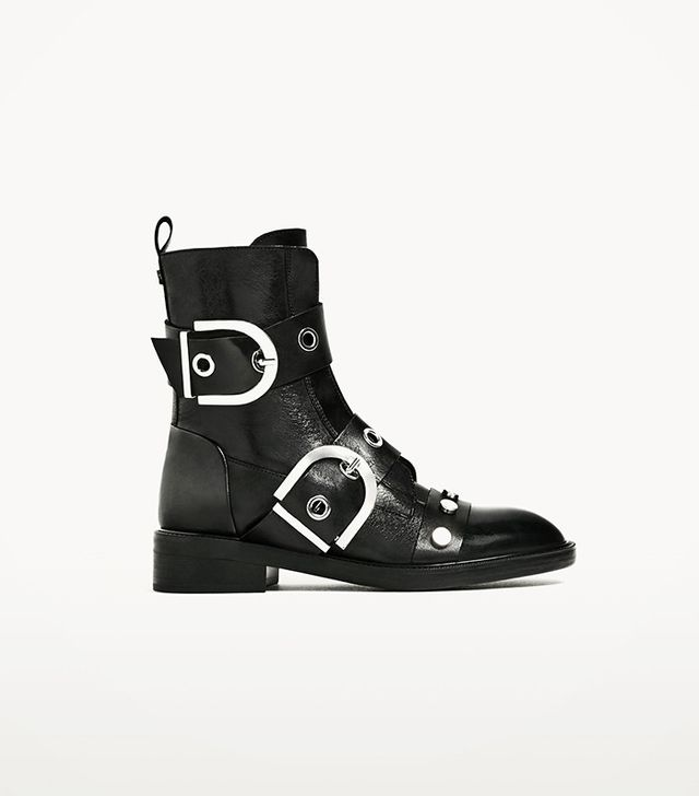 Zara Black Leather Ankle Boots with Maxi Buckles