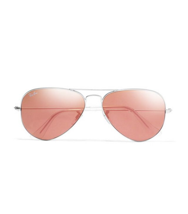 Ray Ban Aviator Silver-Tone Mirrored Sunglasses
