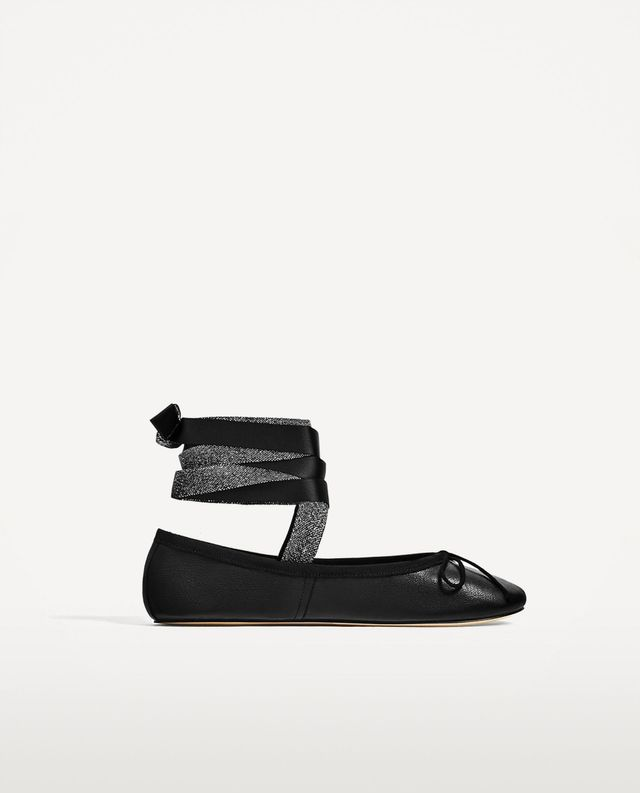 Zara Leather Ballerinas With Interchangeable Bows