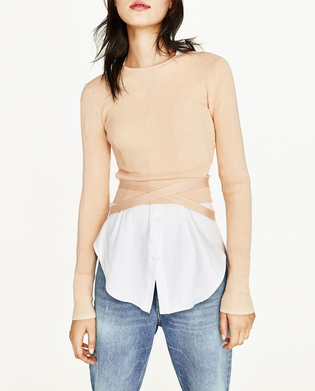 Zara Cropped Sweater With Ribbon