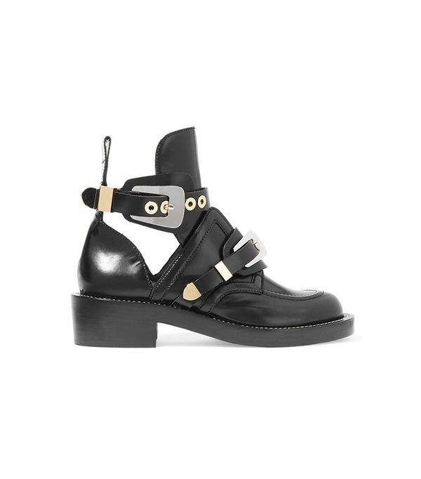 Balenciaga Cutout Glossed-Leather Ankle Boots