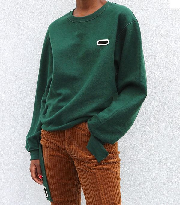 Collina Strada Grommet Sweatcrew in Forest Green