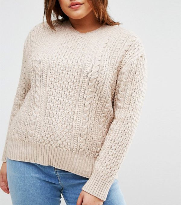 ASOS Curve Cable Sweater in Slouchy Shape