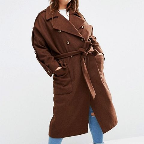 Wool Trench Coat With Eppaulette