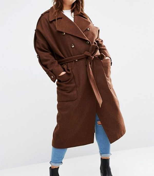 ASOS Curve Wool Trench Coat With Eppaulette
