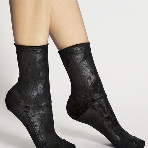 Black Crushed-Velvet Socks
