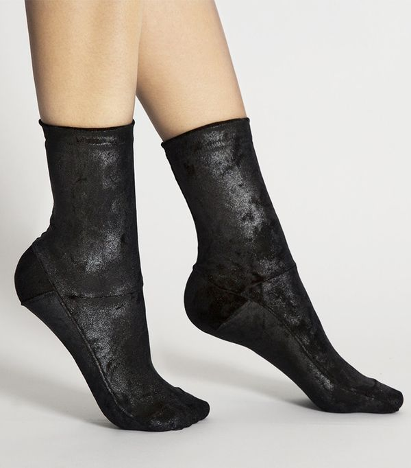 Darner  Black Crushed-Velvet Socks