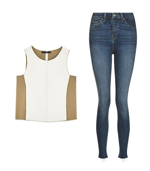Shop: Zara Two-Tone Top with Topstitching ($40); Topshop Moto Blue Raw Hem Jamie Jeans ($75).