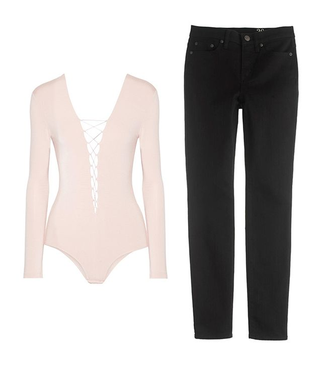Shop: T by Alexander Wang Lace-Up Stretch-Modal Jersey Bodysuit ($160); J.Crew Lookout High-Rise Jeans in Black ($115).