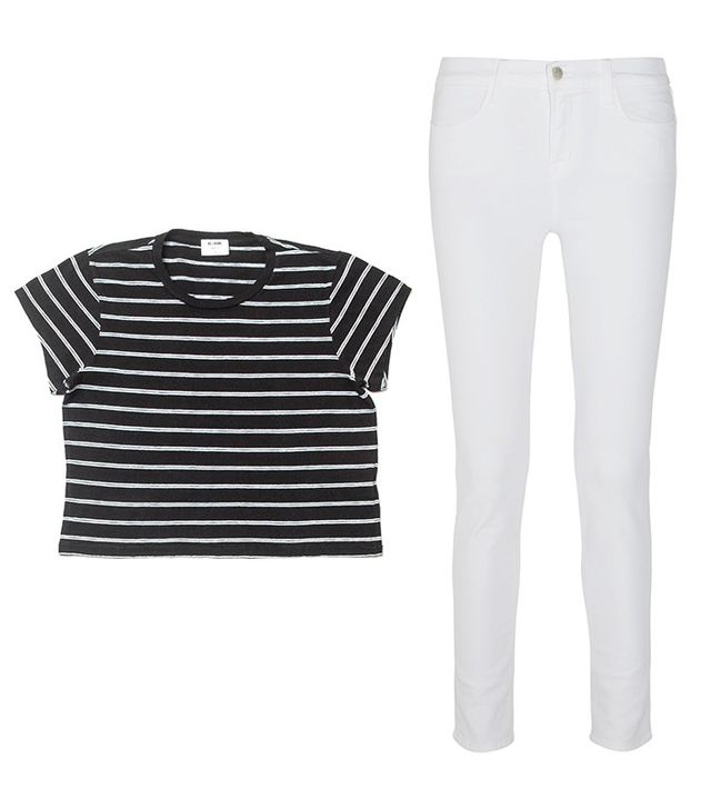Shop: Re/Done | Hanes 1950s Striped Boxy Crop Tee ($85); J Brand Maria High-Rise Skinny Jeans ($175).